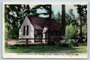 Postcard Canada Vancouver BC Anglican Church Hope Old Church Tinted RPPC Q11
