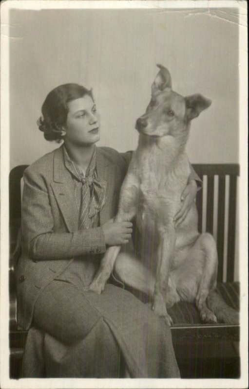 Woman & Her Dog on Bench 1930s Real Photo Postcard