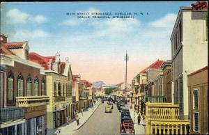 curacao, N.W.I., WILLEMSTAD, Otrabanda, Main Street, Cars (1940s)