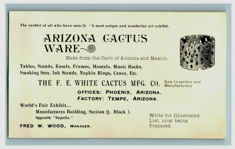 1893 World's Fair Arizona Cactus Ware The F.E. White Cactus MFG. Co. P177