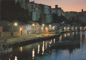 Spain Menorca Mahon Detalle nocturno del Puerto