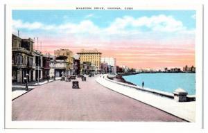 Mid-1900s Malecon Drive, Havana, Cuba Postcard