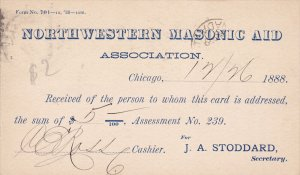 Northwestern Masonic Aid Association card , CHICAGO , Illinois , PU-1888