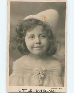 1910 rppc CUTE GIRL IN HAT CALLED A LITTLE SUNBEAM r6398