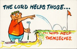 Golf Comic Humour 'The Lord Helps Those Who Helps Themselves' Cheat Postcard G8