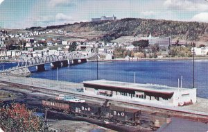 P1923 vintage postcard B & O RR train cars station bridge river gaspe ontario