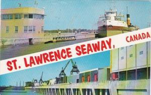 Canada Ontario Robert H Saunders Power Generating Station Steamer In Lock 1961