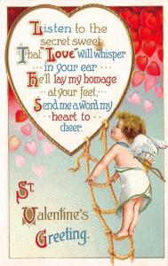 Clapsaddle Valentine~Cupid On Rope Ladder~Red to Pink Hearts Fall~Int'l Art Pub