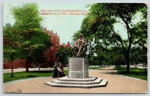 Boston MA~Anti-Slavery Hero~Agitator William Lloyd Garrison Statue~1913 Postcard