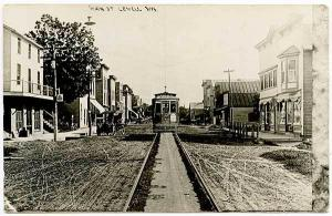 Lowell WI Trolley Dirt Street View Vintage Store Fronts RPPC Real Photo Postcard