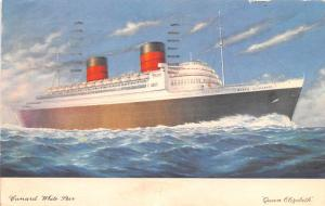 White Star Line Cunard Ship Post Card, Old Vintage Antique Postcard Queen Eli...