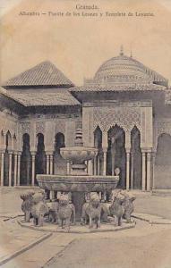 Alhambra, Fuente De Los Leones y Templete De Levante, Granada (Andalucia), Sp...