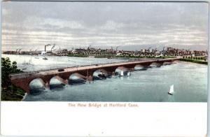 HARTFORD, Connecticut  CT    NEW BRIDGE   ca 1900s  UDB  Polychrome Postcard
