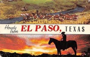 US Howdy from... El Paso, Texas, Cattle Herd, Horse Silhouette Sunset 1959