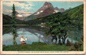ARTIST PARADISE - LAKE MCDERMOTT Montana MT Glacier National Park Postcard PC
