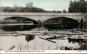 New London WI~New Cement Arch Deck Bridge on Embarrass River~c1910 CU Williams