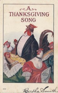 THANKSGIVING; PU-1907; Dressed Chickens singing A Thanksgiving Song