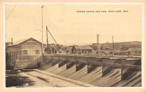 Rice Lake Wisconsin~Power House & Dam~Factory on Hill~1930s Postcard