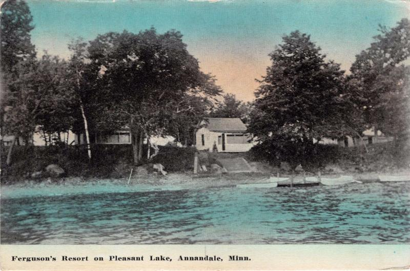 ANNANDALE MINNESOTA FERGUSON'S RESORT ON PLEASANT LAKE POSTCARD 1913