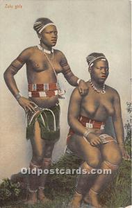 African Nude Postcard Zulu Girls Unused