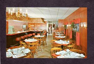 NY Red Bull Motor Inn Motel  Poughkeepsie New York Postcard Restaurant Interior
