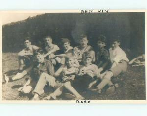 rppc 1920's BOY IN MIDDLE HOLDING BASEBALL AND BAT - TEAM PICTURE AC8403