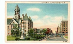 Chicago Street & Court House Joliet Illinois 1940s postcard