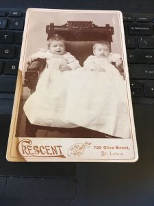 Antique Cabinet Card Photo -  Baby and Baby (2 babies)Crescent Studio , St Louis
