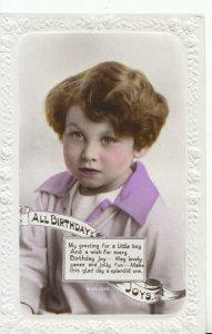 Greetings Postcard - Little Boy Birthday Card - Real Photograph - Ref 16407A