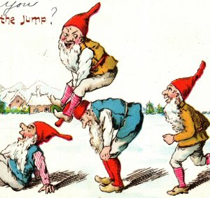 Gnomes Playing Leap Frog Always On The Jump Undivided Back Postcard