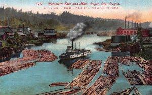Willamette Falls and Mills, Oregon City, Oregon, early postcard, unused