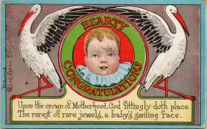Hearty Congratulations Baby Birth Motherhood Child White Birds Postcard F92