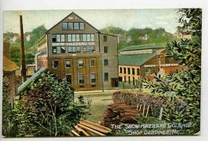 Gardiner ME Snow Hazzard Shoe Factory Old Cars Postcard