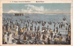 MYRTLE BEACH CONNECTICUT-A-HAPPY-CROWD OF BATHERS~POSTCARD 1920