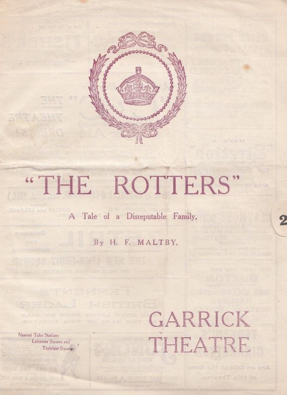 The Rotters HF Maltby Garrick Theatre Jose Levy Antique Comedy Programme