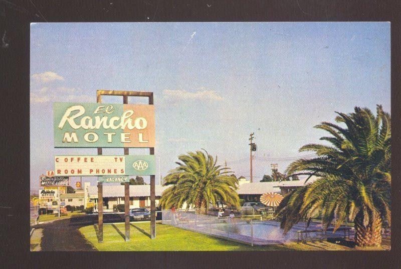 NEEDLES CALIFORNIA ROUTE 66 EL RANCH MOTEL ROAD SIGN ADVERTISING POSTCARD