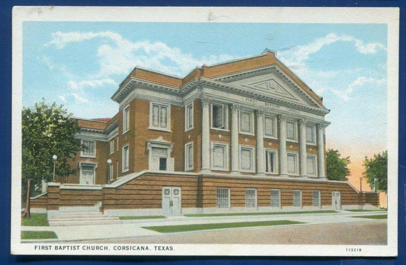 Corsicana Texas tx First Baptist Church old postcard #1