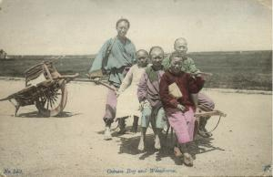 china, Native Chinese Boys and Wheelbarrow (1912) Postcard
