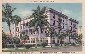 Florida Saint Petersburg Bay Side View And Garden The Floronton Hotel 1954