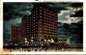 New Jersey Atlantic City Ambassador Hotel By Night 1925 Curteich