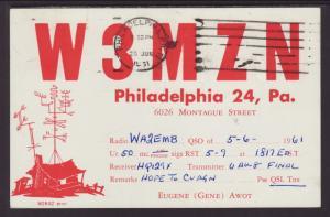 W3MZN Philadelphia,PA QSL Postcard