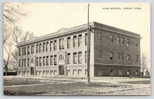 Lenox Iowa~High School~Dirt Road~1916 B&W Postcard