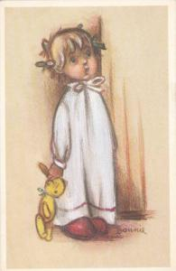 Artist Signed, Child in pajama gown holding teddy bear, Bonnie, 10-20s