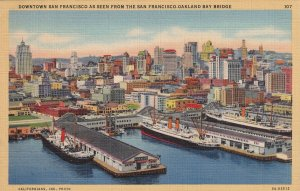Downtown San Francisco Seen From Bay Bridge California CA Postcard