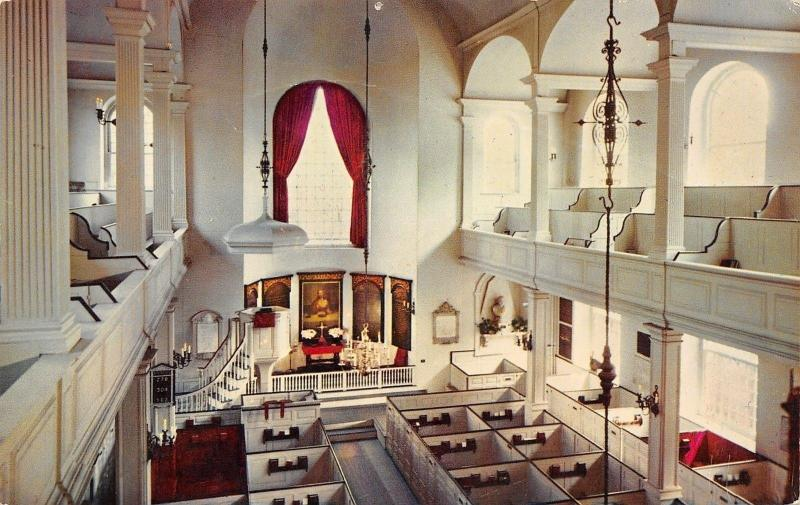 Boston Massachusetts~Old North Church Interior~Paul Revere Fame~1960 Postcard