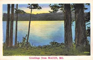 Macon Missouri~A Picture of Part of the Lake We Are Fishing In~1937 Postcard