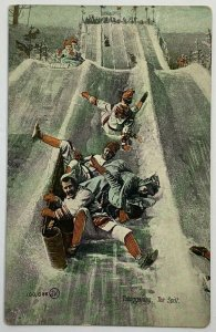 Old Divided Back Postcard Tobogganing The Spill Valentine & Sons Snow Slope