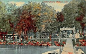 MADISON WISCONSIN~ESTHER BEACH-SIGN-DOCK~1912 PSTMK S H KNOX PUBL POSTCARD