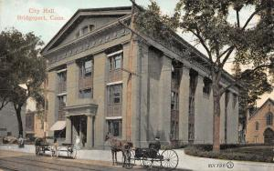 Bridgeport Connecticut~City hall~Man in Buggy~Empty Wagon~Ladies~1907 Postcard