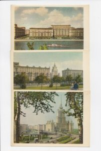 Set of 3 1960s Soviet Era Moscow Postcards - Russia USSR - Unposted